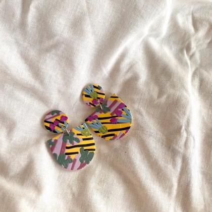 Polymer Clay Earrings, Wallflower -..