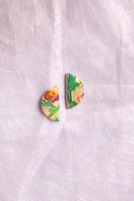 Painted Garden - Mini half moon studs, polymer clay studs