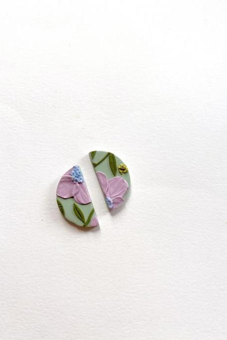 Lavender Poppies - Mini half moon studs, polymer clay earrings