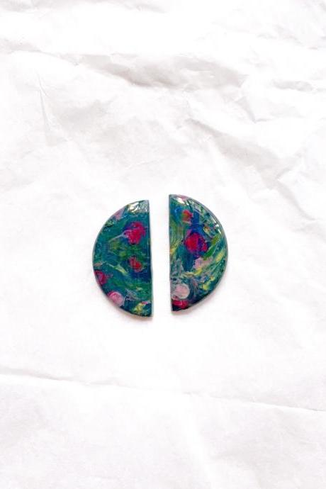 Rose Garden - Half Moon studs, polymer clay earrings