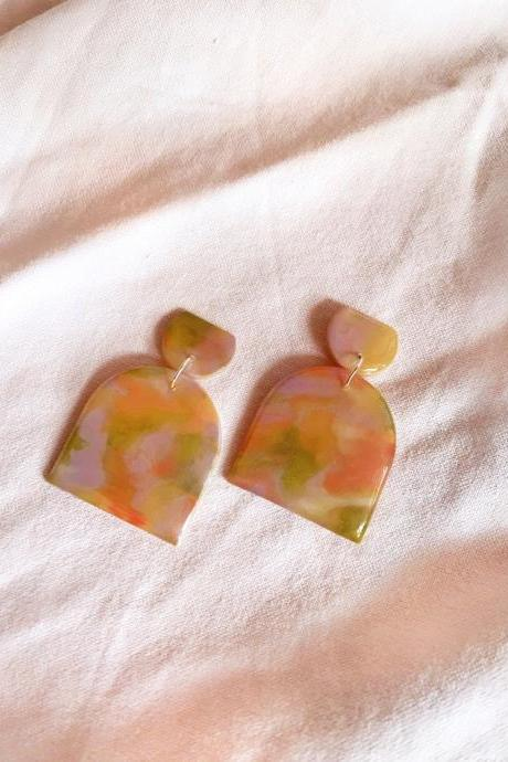 Peach Garden - Maude Polymer Clay Earrings