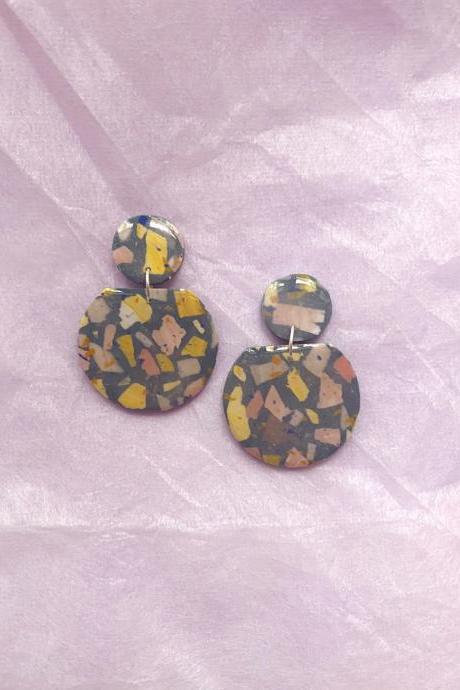 Forest Terrazzo - Kahlo Polymer Clay Earrings | Polymer Clay Jewelry