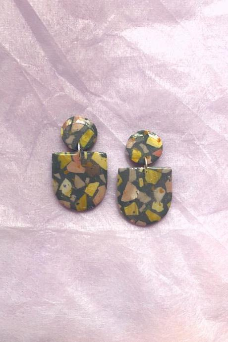 Forest Terrazzo - Mini Frida Polymer Clay Earrings | Polymer Clay Jewelry