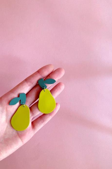 Polymer Clay Earrings, Limited Pre-order: Pear Polymer Clay Earrings