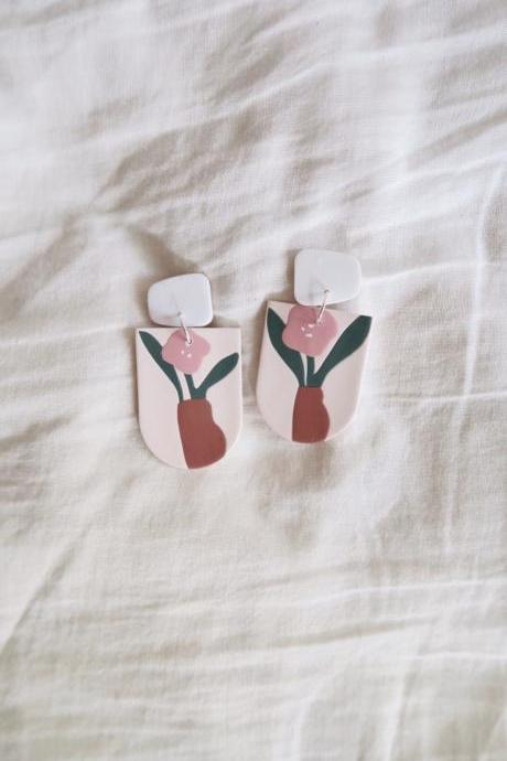 Limited Pre-order: Portrait - Poppy vase polymer clay earrings