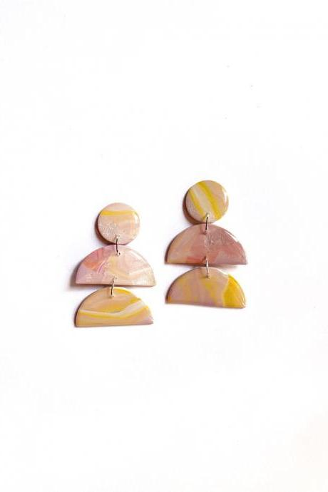 Polymer Clay Earrings, Coated Marble (Pink Skies) - Mini Gaia Earrings