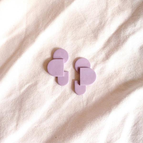 Bauhaus series - Weimar in Lavender Polymer Clay Earrings